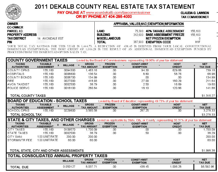 Avondale Estates Dekalb County Georgia Property Tax Calculator