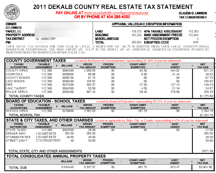 Dekalb County Georgia Property Tax Calculator Unincorporated