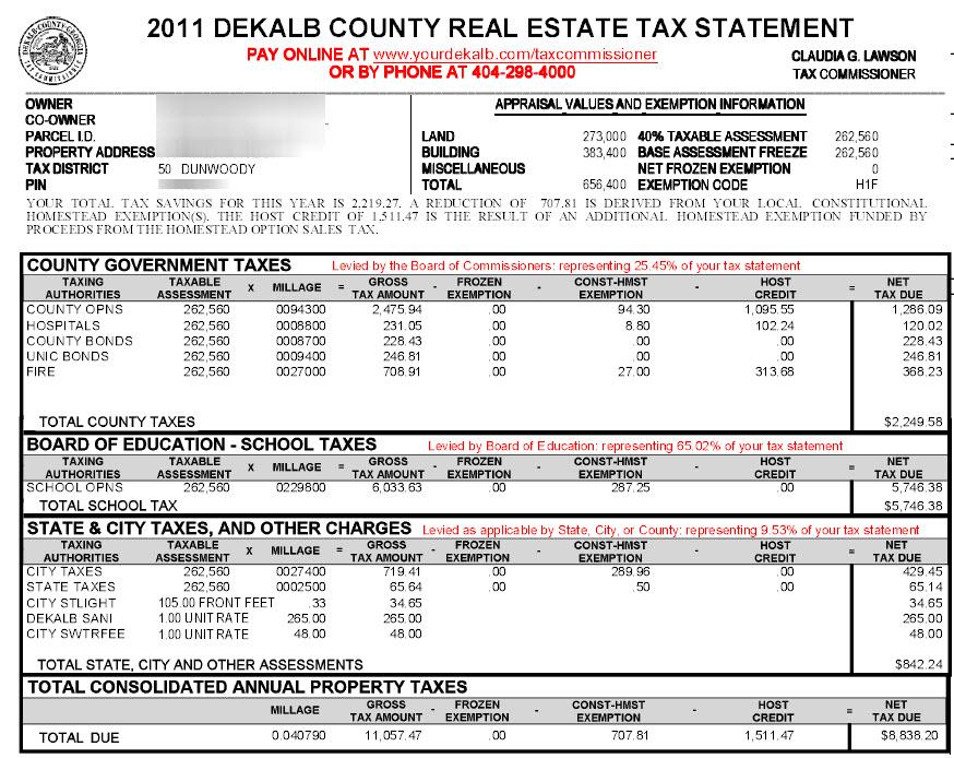 dunwoody dekalb county georgia property tax calculator