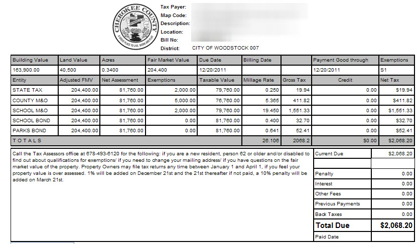 Sample Tax Bill For County Tax. Couldnu0027t Find An Online Bill For The City  Of Woodstock.